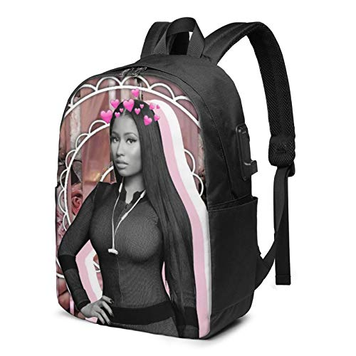 AMZOPDGS Nicki Minaj Fashionable, Comfortable and Durable Laptop Backpack Travel Backpack, with USB Charging Port 17 Inches, Suitable for Men and Women