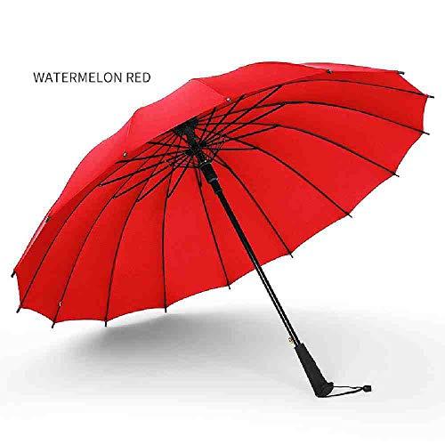 BJDKF paraplu Merk Kwaliteit 16 Rib Stevige Winddichte Lange Rechte Handvat Anti-UV Zon/Regenstok Grote Outdoor Parasol, 5