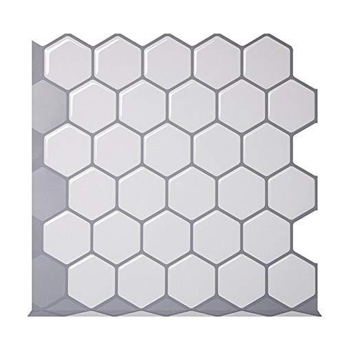 ZXF Pegatinas de baldosas 4 Piezas Hexágono Off White vinilo etiqueta auto-adhesivo del papel pintado 3D Peel y de la plaza palillo de la pared Azulejos for cocinas y baños protector contra salpicadur