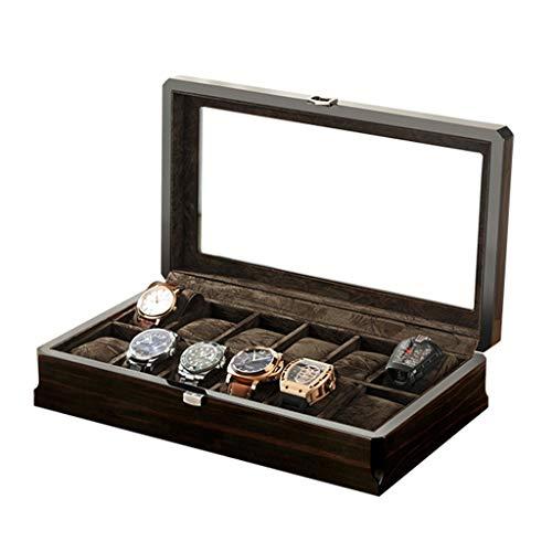 LKESWLE Organizador de Caja de Almacenamiento de Reloj de Madera de 12 Ranuras Nuevo mecánico para Hombre Estuches de Soporte de exhibición Cajas Negras (Color : B)