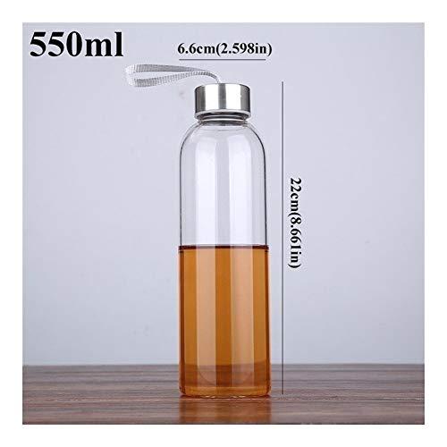 550ml extérieur Une bouteille Portable Sport verre d'eau avec une corde Visite Drinkware Brève voiture Carafe adultes Bouteille de thé Boisson directe Home Kitchen (Color : 550mlC217SteelLid)