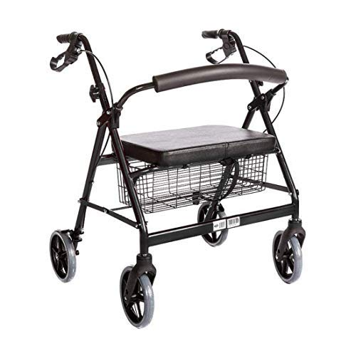 Heavy Duty Medical Bariatric Heavy Duty Rollator Walker with Seat and 4 Wheels,with Large Seat for Seniors, 8 Inch Wheels 400LB,Basket and Brakes, by Healthline Trading (Black)