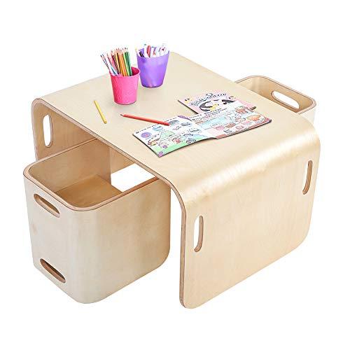 Ejoyous - Tavolo e sedie per bambini, in legno, 3 in 1, multifunzione, per bambini e bambine, 1 tavolo reversibile + 2 sgabelli reversibili