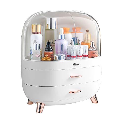 Ihuiniya Modern Makeup Storage Organizer Box Cosmetics storage display rack with drawer,Waterproof, dustproof, elegant display cabinet,Suitable for bathroom countertop, bedroom dresser (Large White)
