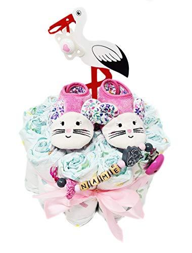 Elfenstall Windeltorte/Pamperstorte mit Krabbelschuhe und Schnullerkette mit Schnuller und vielen Extras als tolles Geschenk zur Geburt oder Taufe auf Wunsch mit Namen des Babys