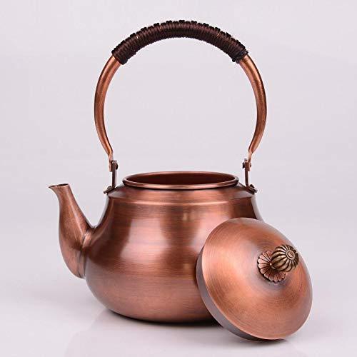 Tetera de Cobre, Juego de té de Estilo Chino, Capacidad de 1200 ml, 18 * 23 cm, Color Cobre, preservación del Calor y preservación del Calor, conservan la Fragancia del té