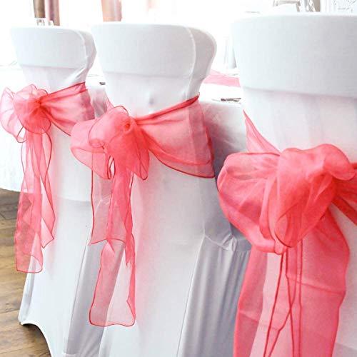 BIT.FLY 100 Pezzi 18 * 275CM Sedia Organza Fiocco, Organza Poltrona Fiocchi per Matrimoni Feste di Compleanno Decorazione (Rosso)