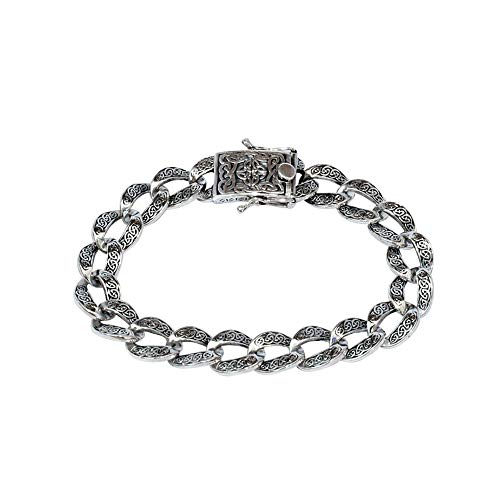 Keith Jack Jewelry, Celtic Knot Curb Link 8' Bracelet, Sterling Silver