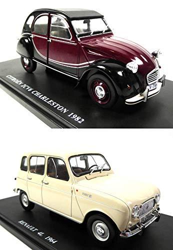 OPO 10 - Lot de 2 Voitures de Collection 1/24 en Boite Dure : Renault 4 + Citroen 2CV6 (BD004+7)