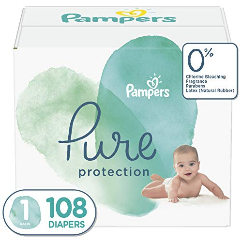 Diapers Newborn / Size 1 (8-14 lb), 108 Count - Pampers Pure Disposable...