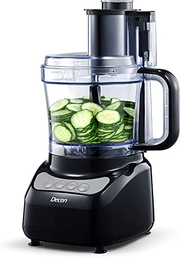 Procesador de Alimentos Decen, Robot de Cocina Multifunción para Carne, Cortador de Verduras Eléctrico, 3 Modos de Velocidad, 6 Accessori, Rallador, Picar, cortar, cortar en cubitos, amasar
