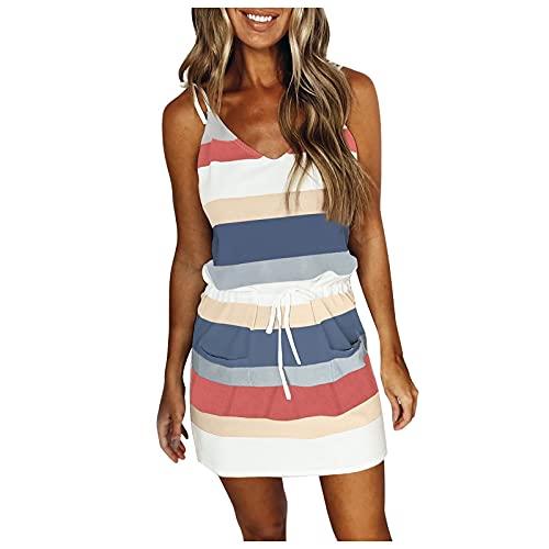 SANYEE - Vestido de verano con cuello en V, sin mangas, vestidos con tirantes delgados y cinturón, correa, vestido suelto a rayas con tirantes, XL, Azul / Patchwork