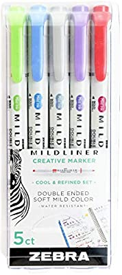 Zebra Pen PK Cool&REFIN Zebra Zensation Mildliner, Double Ended Highlighter, Broad and Fine Tips, Assorted Cool and Refined Colors, 5-Count, 5 Pack, Cool & Refined