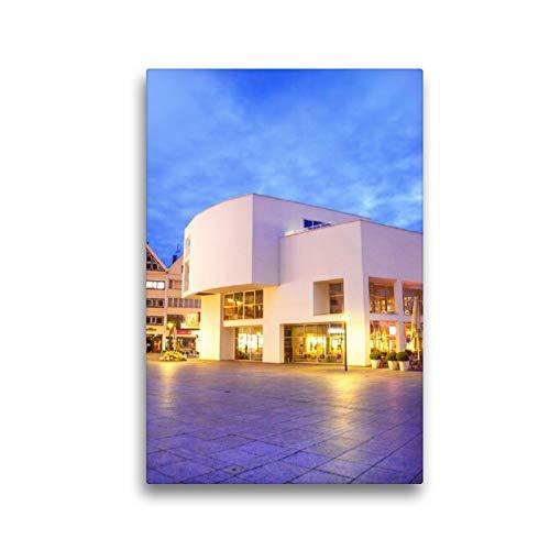 CALVENDO Premium Textil-Leinwand 30 x 45 cm Hoch-Format Das Moderne Stadthaus in ULM, Leinwanddruck von Liselotte Brunner-Klaus