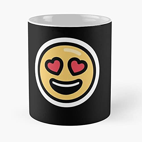 Love Emojis Pattern- Taza de café de cerámica, color blanco