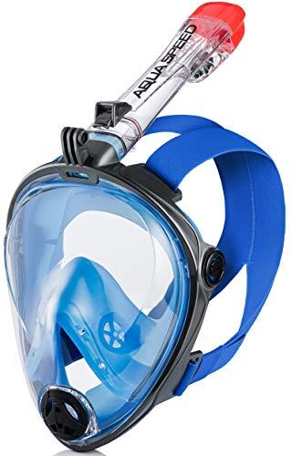 Aqua Speed Full Face Schnorchelmaske Erwachsene I 180° Panorama Tauchermaske I Tauchmaske ganzes Gesicht I Kamerahalterung I + Mikrofaser Handtuch I I 01.Blau/Schwarz, Gr. S–M I Spectra 2.0