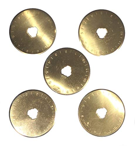 45 mm Rotary Cutting Blades Titanium Coated (5-Pack) Heavy-Duty Replacement Cutters | Fit Olfa, Fiskar and More | Crafting Tools for Fabric, Paper, Vinyl, Scrapbooking, Card Making