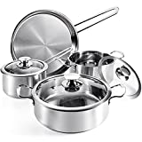 Kitchen Cookware Sets 7-Piece Induction Stainless Steel Pots and Pans Set Kitchenware Cooking Set with Lid Dishwasher Safe Silver