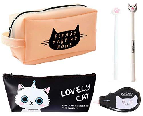 猫づくし文具5点セット 大容量猫ペンケース ポーチ シリコン素材で防水効果 ボールペン 修正テープ 化粧ポーチ (ピンク)