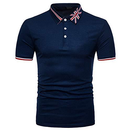 Camisa Polo Hombre Casual Negocios Hombres Modernos Manga Corta Slim Fit Stretch Golf Baseball Sport Hombres Camisa Deportiva Classic Basic Kent Collar Hombres Henley Shirt D-Blue M