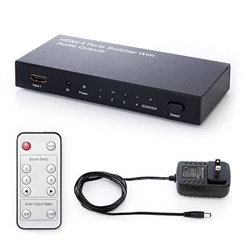 {サンワダイレクト HDMIセレクター 4入力×1出力 光、同軸デジタル出力付き 1080p対応 リモコン付 HDMI切替器 400-SW015}