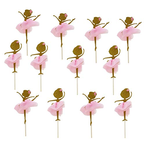 Toyandona 12 Stück Gold Glitter Exquisite Tanzende Mädchen Ballerina Cupcake Topper Cake Picks für Geburtstag Party Hochzeit Brautparty Party Dekorationen