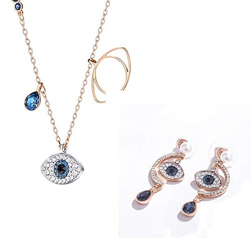 Necklace,925 Sterling Silver,Bracelet Earring Ear Studs,Inlaid With Artificial Gems,Magic Eye Jewellery For Mother ,Girfriend,Rose Gold