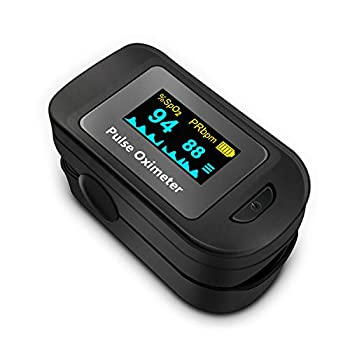 Fingertip Pulse Oximeter Blood Oxygen Saturation Monitor  SpO2  with Pulse Rate Measurements and Pulse Bar Graph Portable Digital Reading OLED Display Batteries Included