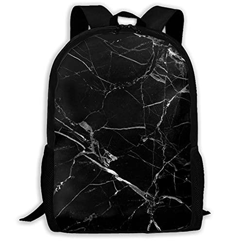 Bingyingne Zaino con struttura in marmo nero, borsa per libri resistente e carina con tasche spaziose, zainetto per college con stampa divertente, regalo unico per lo zainetto da viaggio