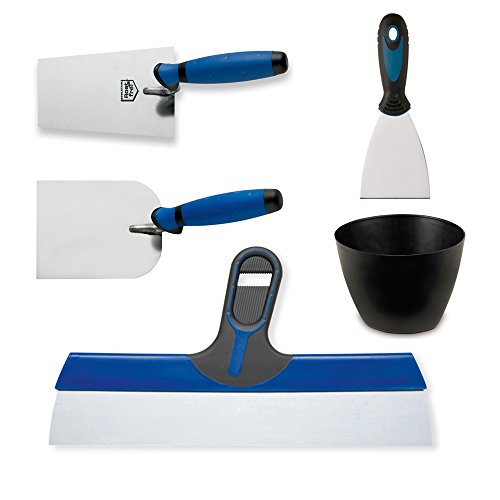 Colorus Maurer Set 5 tlg. | Malerspachtel Stuckateurkelle Fassadenspachtel Gipserbecher Stuckateurspachtel | Stuck-Werkzeug aus Edelstahl | Stuckateur-Werkzeug mit Soft Griff