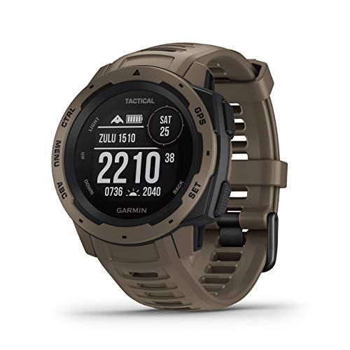 Garmin Instinct Tactical, Rugged GPS Watch, Tactical Specific Features, Constructed to U.S. Military Standard 810G for Thermal, Shock and Water Resistance, Tan (Renewed)
