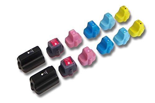 vhbw 12x kompatible Ersatz Tintenpatrone Druckerpatrone Set für Drucker HP Photosmart wie HP 363-Serie.
