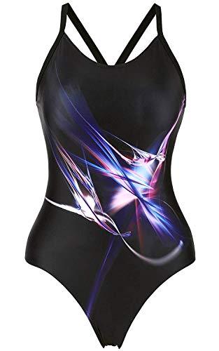 CharmLeaks Women's Pro One Piece Swimsuit Lap Swimwear Crossback Bathing Suit M