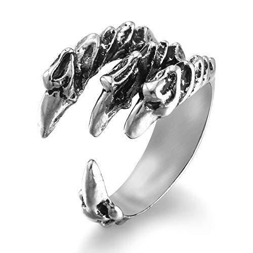 HIIXHC Vintage Stainless Steel Ring for Men Women Claw Skull Rings Gothic Jewelry Halloween Ring Accessories