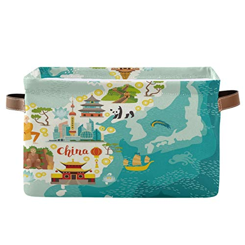 JinDoDo - Cestas cuadradas de almacenamiento con mapas de características chinas, caja de almacenamiento plegable, impermeable, interior para armario de baño, juego de 1