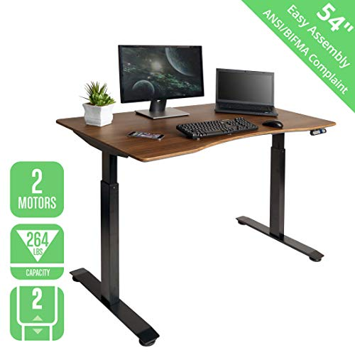 "Seville Classics OFFK65824 S2 Electric Standing Desk with 54"" Top, Dual Motors, 4 Memory Buttons, LED Height Display (Max. 48.4"" H) 2-Section Base, Black/Walnut"
