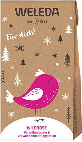 WELEDA Nikolaus und Wichtel Set Wildrose 2020 - Naturkosmetik Geschenkset bestehend aus Wildrose Verwöhn-Dusche (20ml) & Wild Rose Pflegelotion (20ml) in einem ansprechenden Geschenktütchen