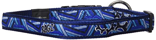 Premium Pattern Ribbon Designer Dog Collar for Extra Large Dogs, Adjustable from 17-27 inches, Navy Zen Fresh Spring Design