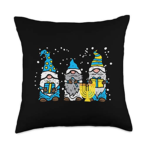 BoredKoalas Hanukkah Pillows Jew Chanukah Gifts 3 Gnomes Menorah Jewish Hanukkah Chanukah Gardening Gift Throw Pillow, 18x18, Multicolor