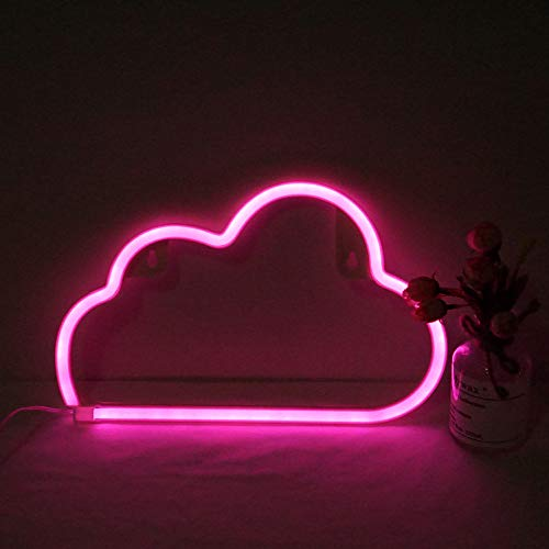Cloud Neon Light, Cute Neon Cloud Sign, Battery or USB Powered Night Light as Wall Decor for Kids Room, Bedroom, Festival, Party (Pink)