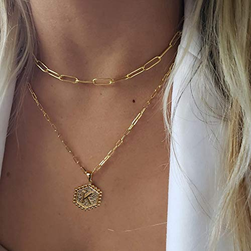 M MOOHAM Dainty Layered Initial Necklaces for Women, 14K Gold Plated Paperclip Chain Necklace Simple Cute Hexagon Letter Pendant Initial Choker Necklace Gold Layered Necklaces for Women