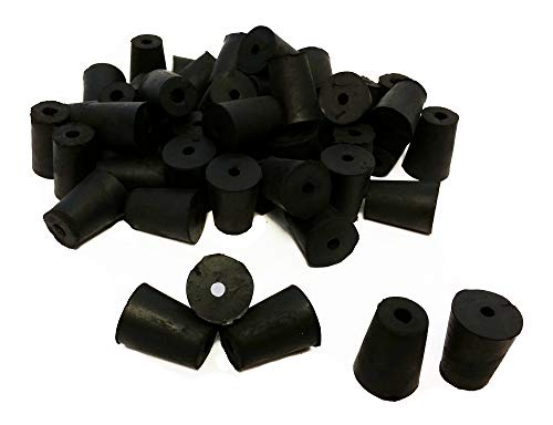 GSC International RS-1-1 Rubber Stoppers, Size 1, Drilled 1-Hole (1-Pound Pack),Black