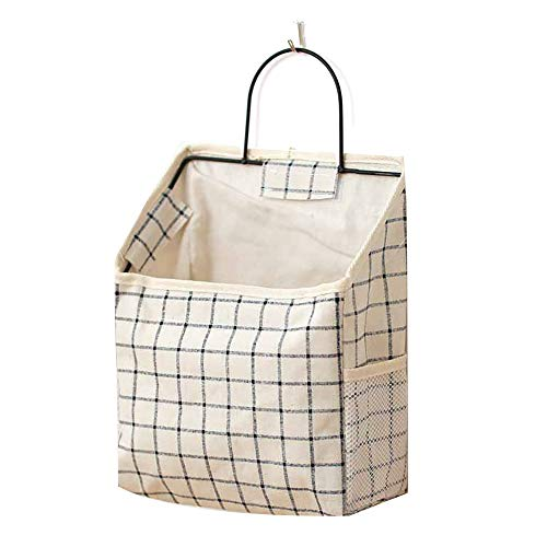 HUI JIN Wall-Mounted Storage Bag Simple Cotton And Linen Books Sundries Wall Door Cloth Hanging Storage Bag Dormitory