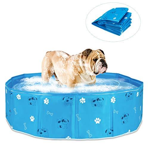 Haokaini Faltbarer Hundepool Haustierschwimmen Tragbarer Zusammenklappbarer Rutschfester Pool Badewanne Teich Kinderbecken für Hunde Katzen Kinder im Freien Spielen