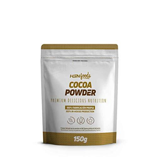Cacao en Polvo de HSN Foods | 100% Puro, Sin Añadidos | Cocoa Powder | Bajo en Azúcar, Ideal para Repostería | Vegano, Sin Gluten, Sin Lactosa, 150g