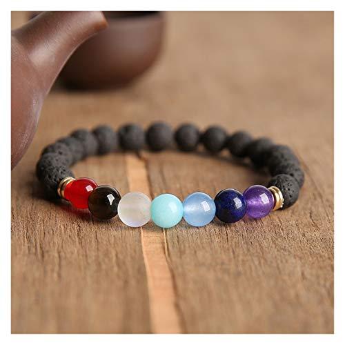 ZNYD La oración Pulseras Bodhi de los Granos de los Hombres de la meditación Mala Granos cristalinos joyería de Las Pulseras Pulsera de oración tibetana Chakras (Color : 19cm, Talla : 15)