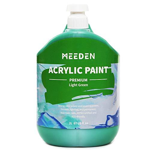 Meeden Acrylfarbe für den Schwerkörper, 2 Liter (2 Liter) mit Pumpdeckel, ungiftige Farbpigmente, perfekt für Acryl-Gemälde, Kunstklasse, Wandmalerei und Malerparty. lichtgrün