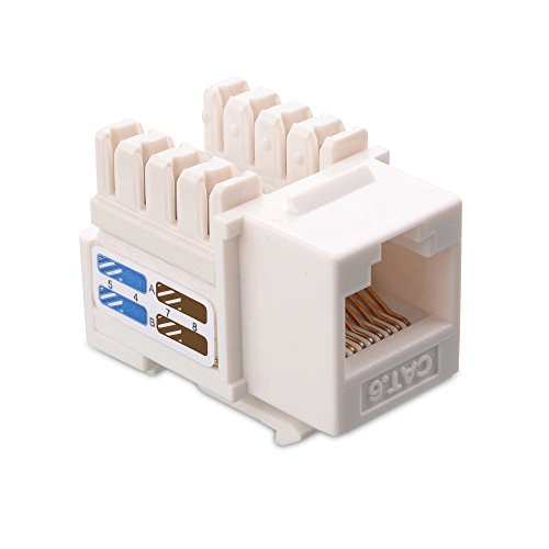 Cable Matters UL Listed 25-Pack Cat6 RJ45 Keystone Jack in White and Keystone Punch-Down Stand
