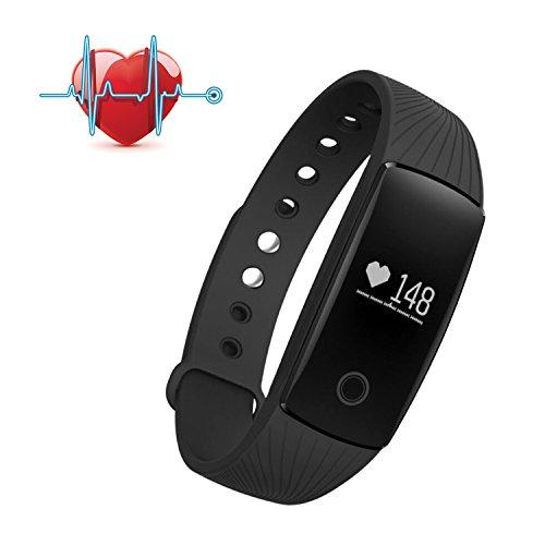 Fitness Tracker, SAVFY Braccialetto Orologio Fitness Cardiofrequenzimetro Attività Fisica Bracciale Fitness Pedometro Smartwatch con OLED per iPhone ios / Android (Nero)