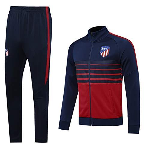 Fussball Jersey Atlětǐcǒ Langarm Langarm Trainingsjacke Fußballanzug Set, 20-21 Royal Blue Casual Reißfestigkeit, tägliche Aktivitäten Tragbar M